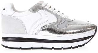 Voile Blanche White & Silver High Sneakers In Leather