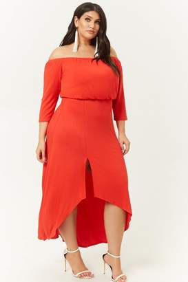Forever 21 Plus Size Off-the-Shoulder High-Low Dress