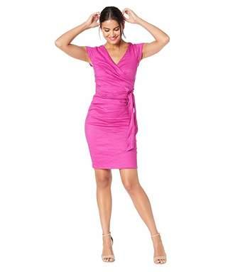 Nicole Miller Solid Cotton Metal Cap Sleeve Wrap Dress