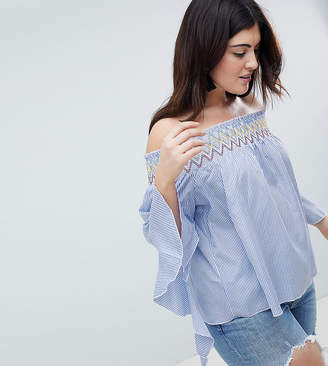 Koko Stripe Off The Shoulder Top With Asymmetric Bell Sleeves