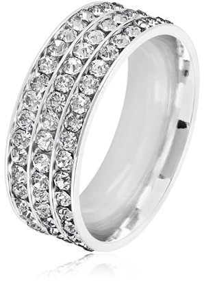 West Coast Jewelry Triple Eternity Crystal Stainless Steel Comfort Fit Ring (8mm)