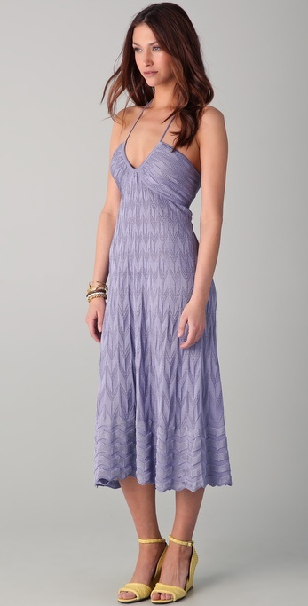 M Missoni Solid Knit Halter Dress