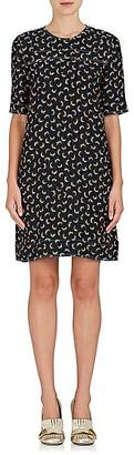 Marni Women's Crinkled Feather-Print Crepe Dress