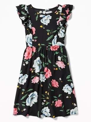 Old Navy Floral-Print Flutter-Sleeve Midi for Girls