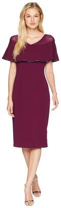 Adrianna Papell Stretch Knit Crepe Cocktail Dress with Illusion and Capelet Women's Dress
