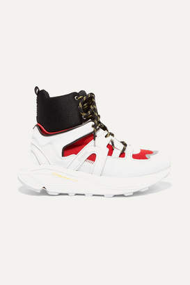 Ganni Brooklyn Suede, Leather, Rubber And Mesh High-top Sneakers - White
