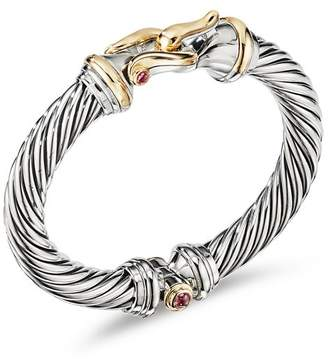 David Yurman Sterling Silver & 18K Yellow Gold Cable Buckle Bracelet with Rhodalite Garnet