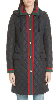 Gucci Web Detail Quilted Coat