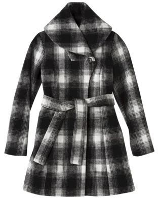 Merona Women's Plaid Shawl Collar Coat -Black