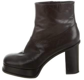 Céline Leather Platform Ankle Boots