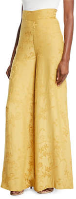 Johanna Ortiz Summer Love Wide-Leg Jacquard Pull-On Pants