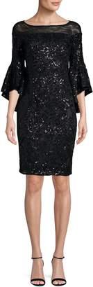 Calvin Klein Illusion Off-Shoulder Sequin Flounce Dress