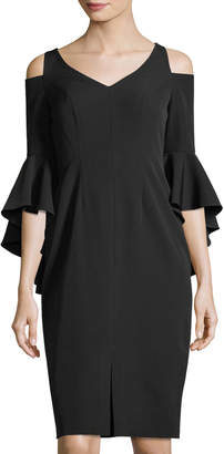 Maggy London Cold-Shoulder Ruffle-Sleeve Sheath Dress