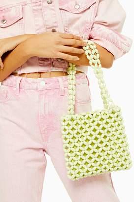 Topshop SAGA Lime Beaded Tote Bag