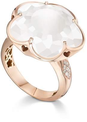 Pasquale Bruni 18K Rose Gold Floral Milky Quartz Ring with Diamonds