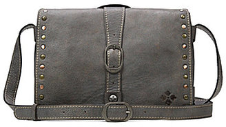 Patricia Nash Washed Denim Collection Montova Studded Cross-Body Bag $189 thestylecure.com