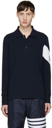 Moncler Gamme Bleu Navy Long Sleeve Chevron Polo