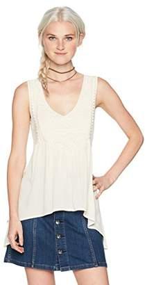 Self Esteem Women's V Neck Knit to Woven Sleeveless Top with Chocker