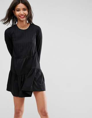 Asos Design Pleated Front Tiered Hem Shift Mini Dress