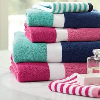 Pottery Barn Teen Color Block Bath Towels, Girl, Pink Magenta/Bright Pink, Hand