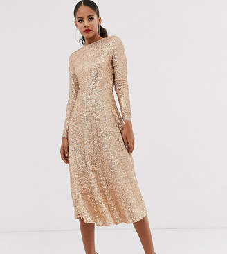 TFNC Tall Tall A-line sequin midi dress in rose gold
