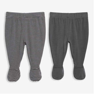 Joe Fresh Unisex Newborn 2 Pack Footed Pants, Charcoal (Size 0-3)