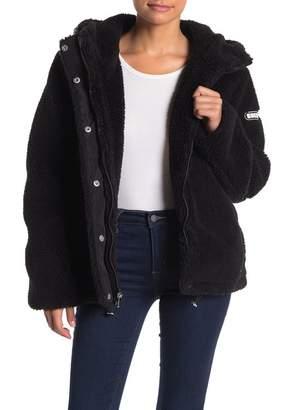 GUESS Hooded Teddy Bear Faux Fur Jacket