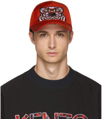 Kenzo Red Canvas Tiger Cap