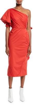 Johanna Ortiz One-Shoulder Pouf-Sleeve Fitted Tie-Back Midi Dress w/ Western Seaming