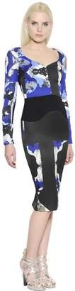 Antonio Berardi Printed Patchwork Crepe & Cady Dress