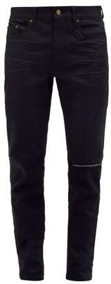 Distressed Slim Leg Jeans - Mens - Black
