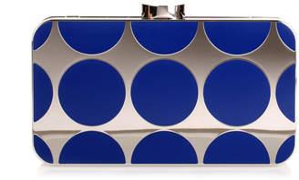 Manolo Blahnik Mina royal blue shiny silver clutch