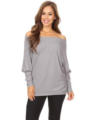 b61ef77c840058 Anna-Kaci Women s Casual Off Shoulder Ribbed Knit Oversized Pullover Sweater