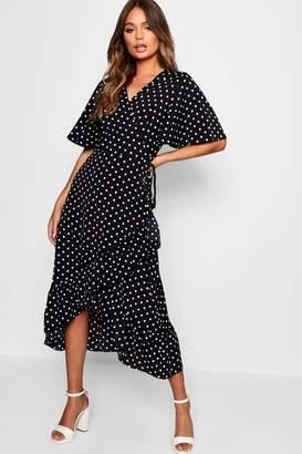 boohoo Polka Dot Frill Midi Wrap Dress