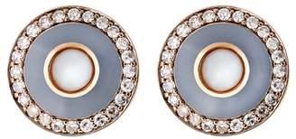 Selim Mouzannar Grey Enamel and Pearl Stud Earrings - Rose Gold