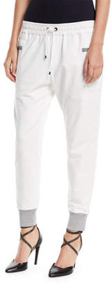 Brunello Cucinelli Drawstring Square-Pockets Stretch-Cotton Jogger Pants
