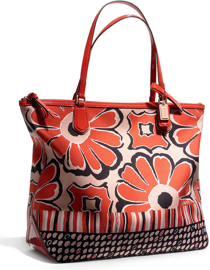 Coach Poppy Tote In Floral Scarf Print