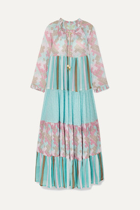 Yvonne S Hippy Tiered Printed Cotton-voile Maxi Dress - Sky blue