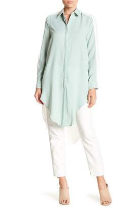Gracia Long Hi-Lo Hem Colorblock Blouse