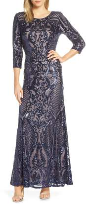 Alex Evenings Sequin Embroidered Tulle Evening Dress