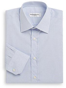 Yves Saint Laurent Windowpane Check Dress Shirt