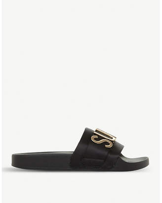 Steve Madden Girl Power satin slogan sliders