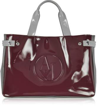 Armani Jeans Large Burgundy, Taupe and Light Gray Faux Patent Leather Tote Bag