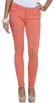 Wet Seal WetSeal Bright Color Destroyed Skinny Jean Living Coral