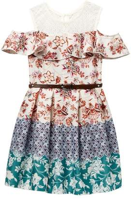 Beautees Belted Cold Shoulder Floral Dress (Big Girls)