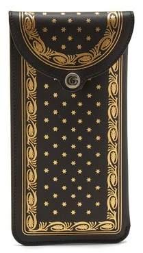 Gucci Logo Print Leather Sunglasses Case - Mens - Black Multi