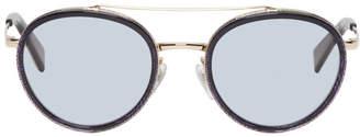 Alain Mikli Paris Gold and Blue Top Bar Sunglasses