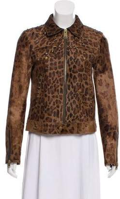 R 13 Leather Animal Print Jacket w/ Tags