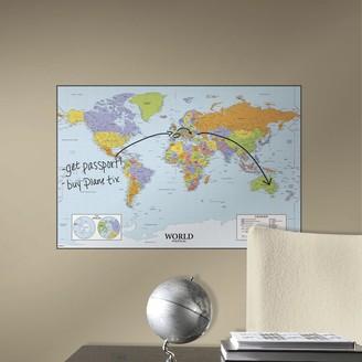 Roommates Dry Erase World Map Wall Sticker