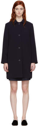 A.P.C. Navy Poupee Double Crepe Coat